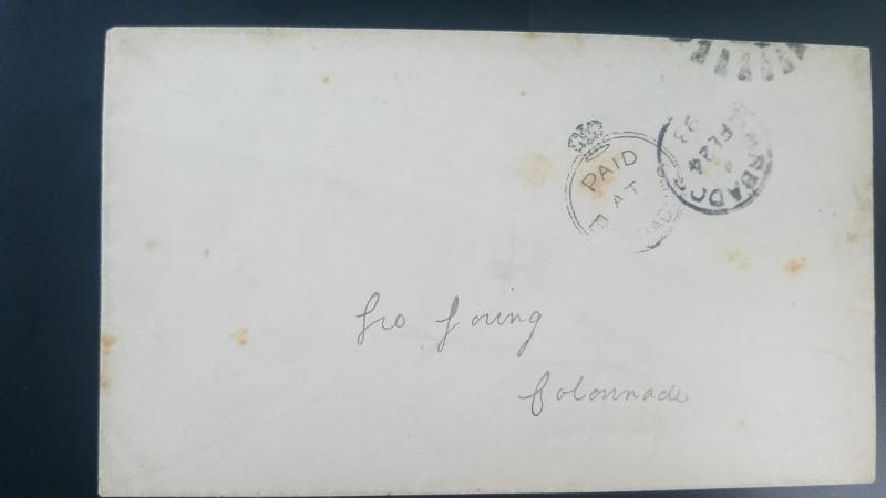 O) 1893 CROWN CIRCLE -BRITISH OFFICE IN BARBADOS, PAID AT, XF