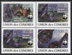 Comoro Islands MNH 2212-5 Fruit Bats WWF 2009