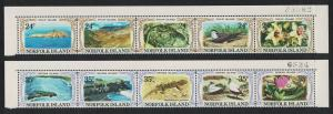 Norfolk Philip and Nepean Islands 10v 2 Top Strips Control Numbers SG#274-283