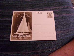 GERMANY WWII PROPAGANDA POSTAL CARD:  1936 OLYMPICS SAILING