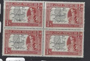 [SOLD] INDIA NATIVE STATE JAIPUR  (PP2407B)  SG   74     BL OF 4  MNH