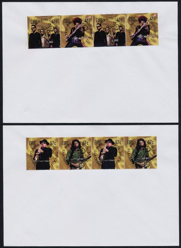 Ireland 1436a,8a pairs on FDC - Irish Rock Musicians