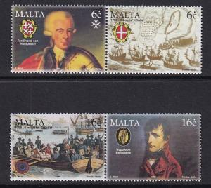 Malta   #940-943a  MNH  1998 French occupation of malta in pairs