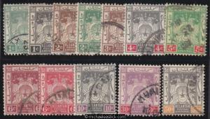 1921-28 Malaya Kelantan 1c - 50c Postage & Revenue (12), SG 14-22, used