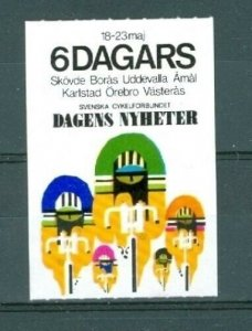 Sweden. Poster Stamp. Sport Bicycle 6 Days Race Newspaper