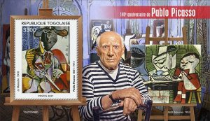 TOGO - 2021 - Pablo Picasso - Perf Souv Sheet - Mint Never Hinged