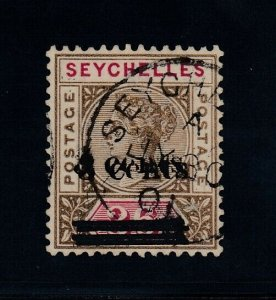 Seychelles, SG 39a (Sc 31b), used Surcharge Doubled variety, signed Oliva