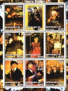 Benin 2002 Harry Potter Hermione Hagrid Movies Owls 9v Mint Mini Sheet. (#09)