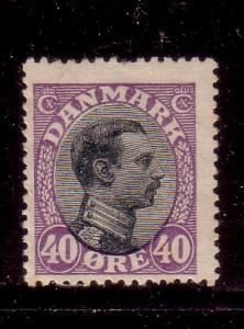 Denmark Sc 116 1918 40 ore vio & blk Christian X stamp used