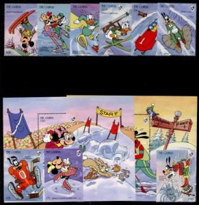 Gambia 1484-94 MNH Disney, Winter Sports, Rabbit, Ice Hockey, Skiing