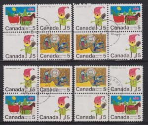Canada #519, 520 and 522 Christmas - Set of 4 used blocks of 4