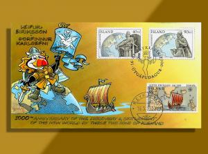 Iceland Combo FDC •• Two Great Explorers of the Viking Age Honored in Y2K