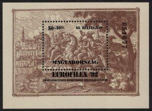 Hungary EuroFilEx 92 Intl Postal History Exhibition MS 1992 MNH SG#MS4109