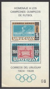 Uruguay #282 MNH ss, stamps of 1924 & 28, 18th Olympics Tokyo, issued 1965