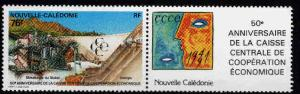 New Caledonia (NCE) Scott 663 strip with label MNH**