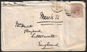 NEW ZEALAND 1885 QV 6d on cover - Napier to UK.............................14872