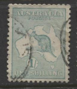 Australia - Scott 51 - Kangaroo -1913 - FU - Wmk 10 - 1/- Stamp