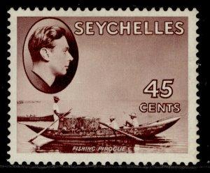 SEYCHELLES GVI SG143b, 45c purple-brown, M MINT. Cat £50. CHALKY