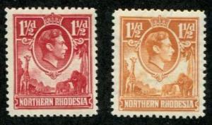 Northern Rhodesia SC# 29, 30 1-1/2d George VI MH