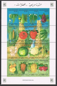 Libya 1309 ap sheet,MNH.Michel 1667-1682 ZD-bogen. Vegetables 1986.