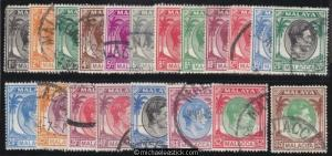 1949-52 Malaya Malacca 1c - $5 Definitives, set of 20, SG 3-17, used