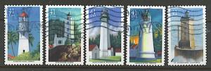 #4146 - 4150 Pacific Coast Lighthouses set/5 (off paper) - Used