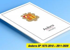 COLOR PRINTED ANDORRA [SPANISH] 1875-2020 STAMP ALBUM PAGES (66 illustr. pages)