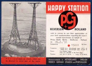 Post Card 1938 Holland Happy Station Machine Cancel 24.5.38 P.C.Js Aerial Mast