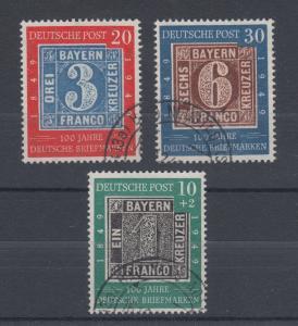 Germany Sc 667/B309 used 1949 German Stamp Centenary, cplt set, VF