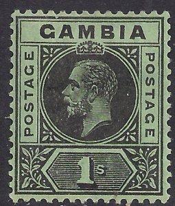 Gambia 1912 - 22 KGV 1/-d Black Green MM SG 97a ( F334 )