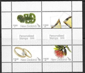 NEW ZEALAND SGMS3192 2010 PERSONALISED STAMPS MNH