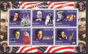 Turkmenistan 2000 US Presidents #01 perf sheet of 6 unmou...