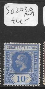 MALAYA STRAITS SETTLEMENTS (P0905B)  KGV   10C  SG 203A  MOG