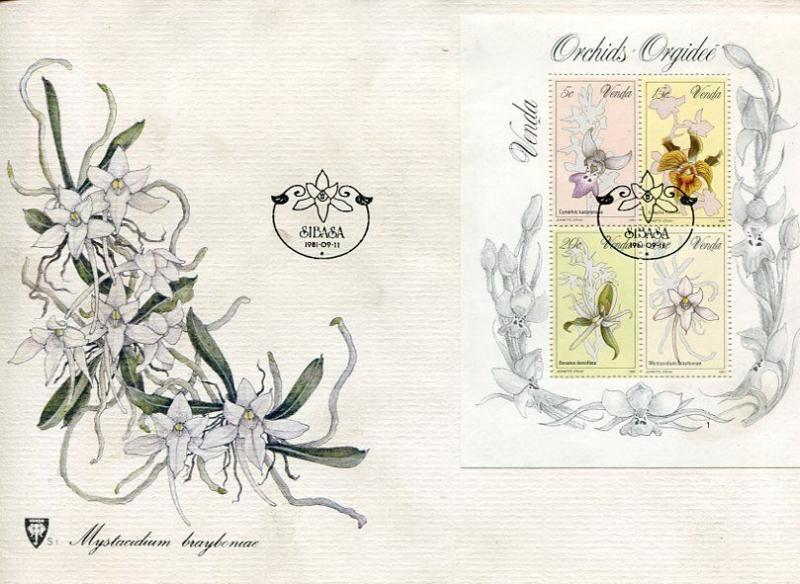 VENDA 1981 ORCHIDS SET ON A BEAUTIFUL CACHETED UNADDRESSED FIRST DAY COVER!