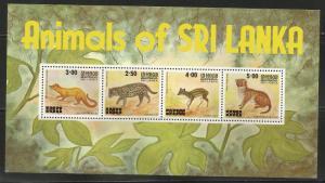 SRI LANKA 597a, MINT HINGED, SOUVENIR SHEET OF 4 STAMPS, ANIMALS OF SRI LANKA
