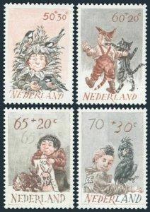 Netherlands B581-B584,MNH.Mi 1223-1226. Children and Animals, 1983. Birds, Cat.