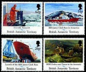 HERRICKSTAMP BRITISH ANTARCTIC Sc.# 184-87 Research Ship Stamp