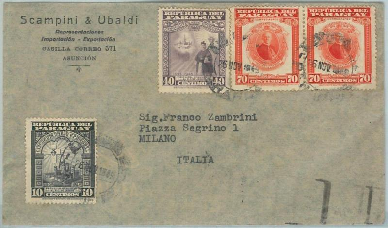 67230 -  PARAGUAY - Postal History -  ADVERTISING COVER to  ITALY 1949 - BOAT