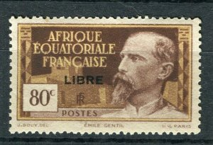 FRENCH COLONIES; EQUATORIAL AFRICA 1941 Francaise LIBRE Optd. Mint hinged 80c.