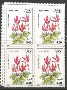 Algeria SC 1991 Flowers 936-8 Block of 4 MNH (5cyh)