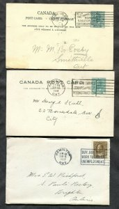 p621-Canada HAMILTON Lot of 3). Two Postal Cards & Cover. Admiral.SLOGAN Cancels