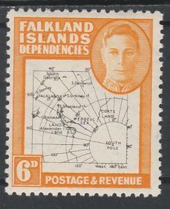 FALKLAND DEPENDENCIES 1946 KGVI THIN MAP 6D MNH **