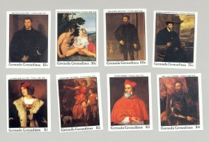Grenada Grenadines #964-971 Titian Art 8v Imperf Proofs