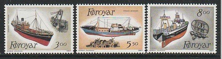 1987 Faroe Islands - Sc 158-60 - MNH VF - 3 single - Fishing Trawlers