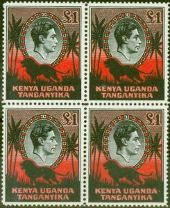 KUT 1941 £1 Black & Red SG150a P.14 V.F MNH Block of 4