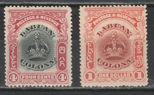 LABUAN 1902 CROWN 4C AND $1 PERF 14.5 -15