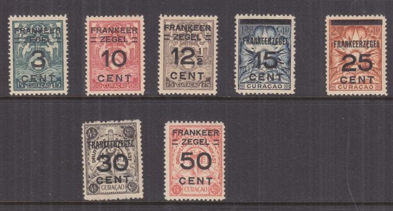 CURACAO, 1927 unissued Marine Insurance Stamps surcharge set of 7, lhm.