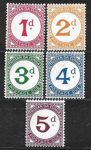 COLLECTION LOT OF 5 TRISTAN DA CUNHA POSTAGE DUE 1957 MH STAMPS 2 SCAN