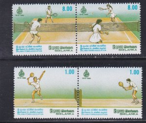 Sri Lanka # 974a & 076a, Tennis Association 75th Anniversary, NH, 1/2 Cat.