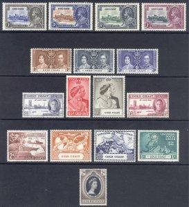 Gold Coast 1935-1953 Commemorative sets Scott 108-160 SG 113-165 MVLH Cat $70